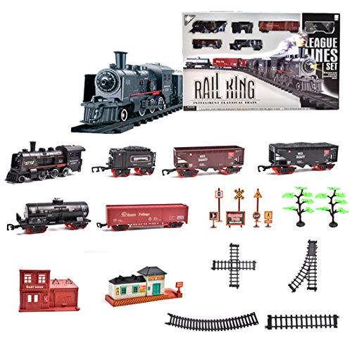 Polai Train Électrique, Circuit Train Electrique, Locomotive à Vapeur Electrique, Coffret de Train avec Wagon