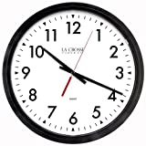 Lacrosse 404-2636-INT Commercial Analog Wall Clock, 14', Black