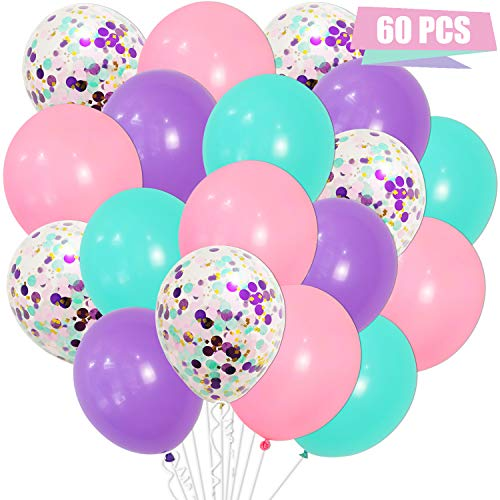 Turquoise, Pink and Purple Balloons - Set, Pack of 60 | Mixed Confetti Balloons | Purple, Pink, Turquoise Latex Balloons with Confetti Balloon for Mermaid Party Balloons Decorations, Unicorn Birthday