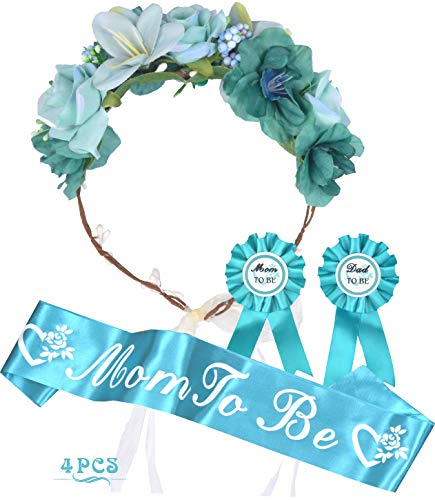 Baby Shower Decoration for Boy, Mother To Be Flower Crown, Mommy to be Sash and Pin, Dad To Be Pin, Blue green Baby Shower Party Favors Decorations Supplies Gifts for Boy, Mother to be Sash