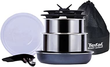 Tefal Multi purpose Outdoor Camping TableWare Cookware 7P Set Stainless Pot Fry with Foldable Pan Glass Lids
