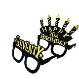 Occhiali da festa per i 70 anni birthday – Seventy birthday masks,nero oro tema: 70° compleanno, articolo per feste, regalo per donne, set di 24