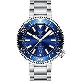 SD1976 Reloj de buceo automático para hombre, 100 bar, azul, con correa de acero inoxidable, cristal de zafiro, bisel de cerámica