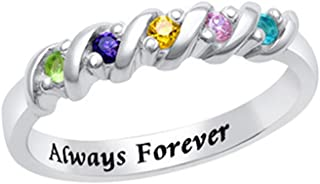 Custom Rings For Women 5 Birthstones Ring Engraved Ring Christmas Valentines Day Gift Silver Name Rin