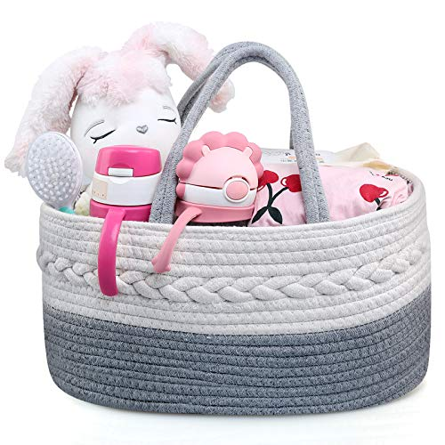 Ballery Organizador de Pañales para Bebé, Cesta para pañales de bebé, Pañalera Portátil, Multifuncional Cesta de Almacenamiento de pañales con 3 Compartimentos para Hogar, Coche