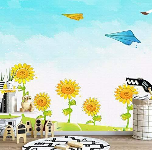 Fotobehang, vlies, 3D, voor de kinderkamer, zonnebloem, handbeschilderd, Scandinavisch, wandafbeelding, warm, vliegtuig 300*210