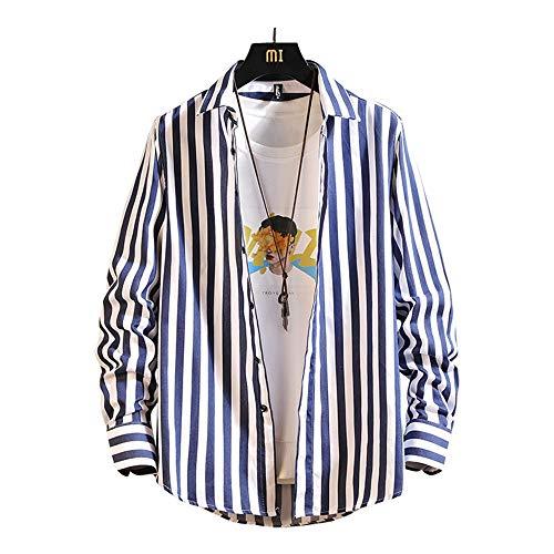 シャツ メンズ 長袖 半袖 シャツ ワイシャツ カジュアル インナーシャツ ストライプ柄 大きいサイズ トップス 男性 吸汗通気 四季節 スリム ビジネス カジュアル(dark blue 3XL)