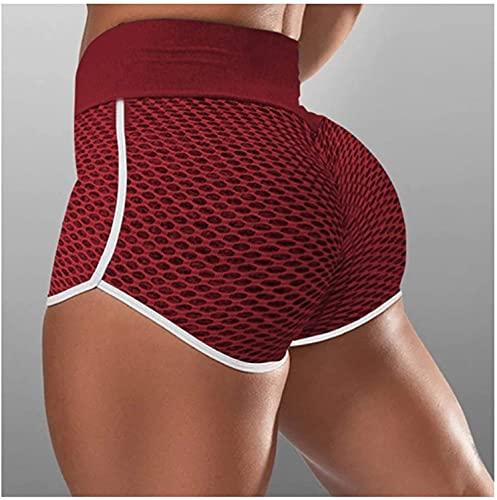 FXLYMR Spiegelwandmontierte Dekorative Leings Shorts, Hintern Leings, Buttift Leings Für Womens, Sport, Fitness,Weinrot