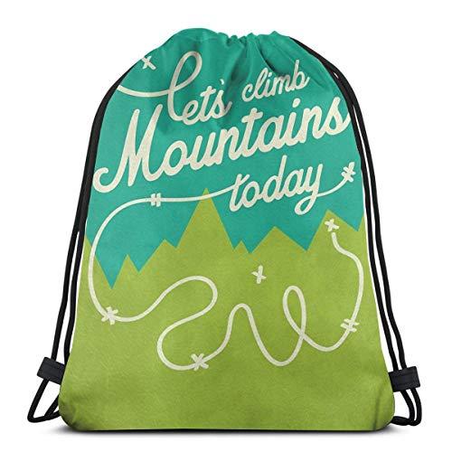 Dutars Let\'s Climb Mountains Today Kordelzug Tasche Schultertasche Druck Rucksack Reise Gym Bag Rucksack mit Kordelzug Rucksack leicht für Reisen Gym Yoga Aufbewahrung Geschenk