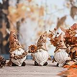 VALERY MADELYN 3er Set 14cm Kunstharz niedlichen Zwerge Figuren Sonnenblume halten und Langen Hut tragen Tischdeko für Haus und Garten Herbstdeko Kinder Erntedank Geschenk - 7