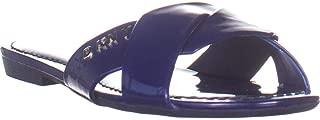 DKNY Kiara Flat Slide Sandals, Blue Patent