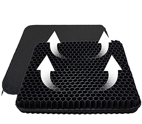 Gel-Seat-Cushion-Office-Chair-Cushion, Double Layer Design Seat Cushion with Nonslip Cover Breathable Honeycomb Pain Relief Chair Pads for Office Chair Car Wheelchair(Black)