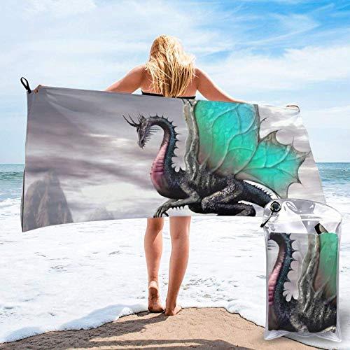 FETEAM Toallas de Playa de Secado rápido con Bolsillo, Dragon Soft Sand Free Pool Bath Toalla de Viaje al Aire Libre para Acampar Nadar Yoga Deportes