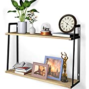 2-Tier Wall Shelves, HuTools Floating Shelves for Bedroom, Kitchen, Living Room, Bathroom Decor, Wall-Mounted Bookshelf Rustic Style