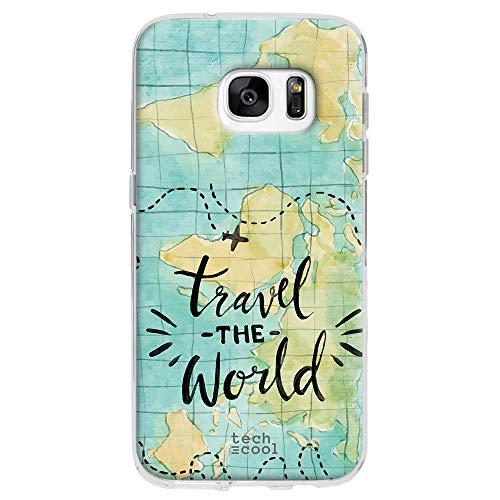 Funnytech® Funda Silicona para Samsung Galaxy S7 [Gel Silicona Flexible, Diseño Exclusivo] Mapamundi Acuarela Travel The World