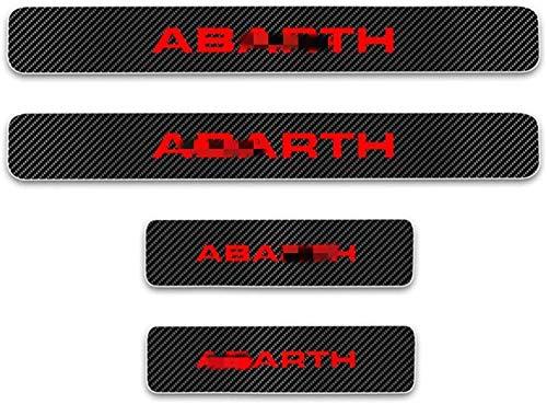 Autotür Pedalleiste für Benutzt für 4 Stück Externes Carbon-Faser-Leder-Auto Kick-Platten Pedal for FIAT 500 ABARTH, Einstieg Willkommen Pedal-Tritt Scuff Threshold Bar Protective Aufkleber Streifen P