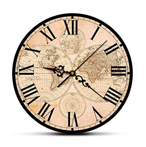 QAZQAZ 17Th siglo antiguo mapa del mundo arte fino impresión moderna reloj de pared mapa histórico del mundo silencioso barrido reloj de pared regalo de inauguración de la casa