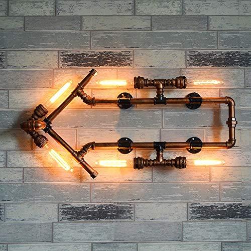 Ganeep Fer Rouille Tuyau D'eau Rétro Lampes Murales 6 Lumières Steam Punk Loft Industriel Vintage E27 LED Appliques Murales Pour Salon Chambre Bar