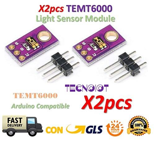 TECNOIOT 2pcs Temt6000 Temt Light Sensor Temt 6000 Sensitivity ambient Light a Simulate Intensity