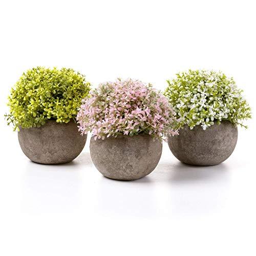 T4U Kunstpflanze Künstliche Blumen Bonsai mit Topf Weiß Gelb Rosa 3er-Set klein, Zuhause Wohnung Büro Dekor Hochzeit Geburtstag Weihnachten Geschenk