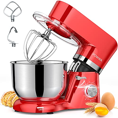 Stand Mixer, POWWA 7.5 Quart Electric Mixer, 6+1 Speed 660W Tilt-Head Kitchen Food Mixers with Whisk, Dough Hook, Mixing Beater & Splash Guard for Baking, Cake, Cookie, Kneading, ETL Certified