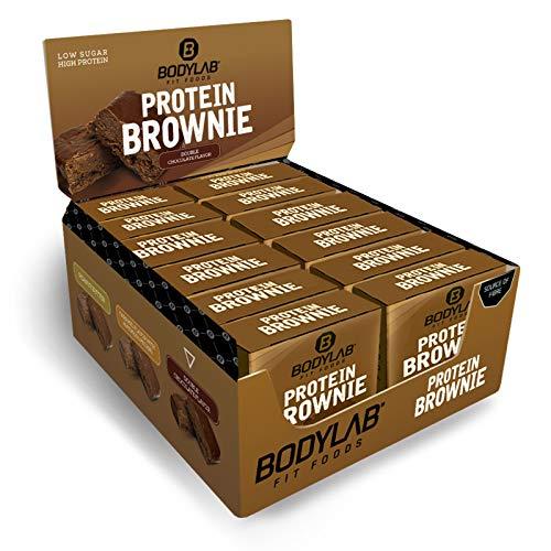 Bodylab24 Protein Brownie 12x50g | High Protein Snack mit 12g Eiweiß pro Brownie | Doppel-Schoko