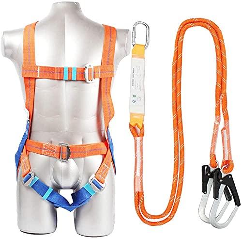 LLDKA Kits de arnés de Seguridad, arnés Anti-otoño Sistema de caída de 5 Puntos Cuerpo Completo Protección de caída Dos Gancho Cuerda de Seguridad y Absorbente de energía