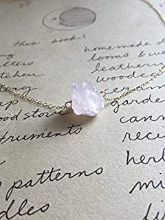 Dainty Delicate Raw Rose Quartz Crystal Necklace 16 Inch 14K Gold Filled Healing Jewelry Gift Ideas for Her