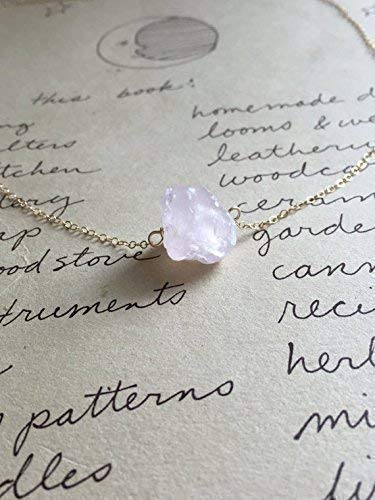 """Raw Rose Quartz Crystal Necklace 16"""" 14K Gold Filled"""
