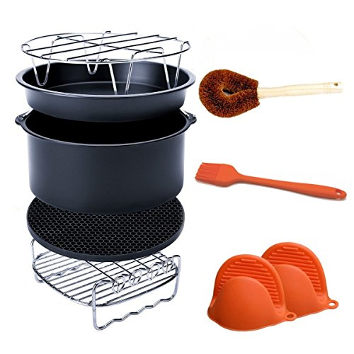 Air Fryer Accessories Fits All 3.7QT - 5.3QT - 5.8QT - Non-stick Barrel/Pan + Stainless Steel Holder/Double-layer Rack with Skewers+ Silicone Mat + Palm Leaf Pot Brush