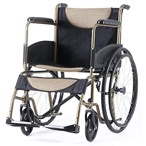 AOLI Wheelchair Manual, Lightweight Folding Portable Self-Propelled with Non-Pneumatic Tire Adjustable Foot Pedal Large Capacity Storage Bag Disabled/Elderly Trolley Scooter
