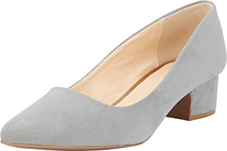 Cambridge Select Women's Closed Pointed Toe Slip-On Chunky Low Block Heel Pump