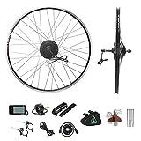 Kit de conversión para bicicleta eléctrica de 26', motor trasero de 26 pulgadas, E-Bike juego completo de 36 V 350 W solo para corona de rosca, sin corona de rosca con batería Hailong de 36 V 12,5 Ah