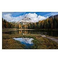 秋の風景空の山々森の湖ポスター絵画キャンバス壁アート写真の装飾リビングルームの装飾のための絵画家の装飾50x70cmフレームなし