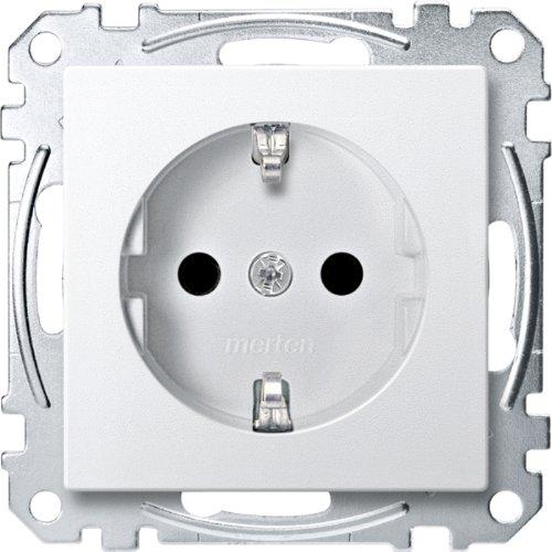 Merten 1563157 MEG2300-0419 SCHUKO-Steckdose, erhöhter Berührungsschutz, Steckklemmen, polarweiß, System M