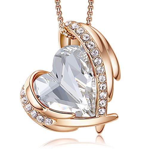 CDE 18K Rose Gold Necklaces for Women Love Heart Pendant Necklace Birthday Anniversary Crhistmas Jewellery Gifts for Her Wife Mum Girlfriend(Rose Gold Pearl)