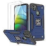 WLSM Funda para Motorola Moto G9 Power + 2 Cristal Vidrio Templado Protector de Pantalla, Anti-Choque Carcasa con 360 Grados Anillo iman Soporte, Hard Silicona TPU Caso - Azul