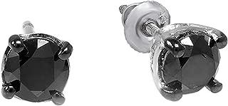 0.33 Carat (ctw) Ladies Round Black Diamond Stud Earrings 3 mm wide 1/3 CT