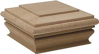 Woodway Flat Top 4x4 Post Cap – Premium Mahogany Wood Fence Post Cap, Newel Post Top 4 x 4, Fits Up to 3.5 x 3.5 Inch Post, 1PC