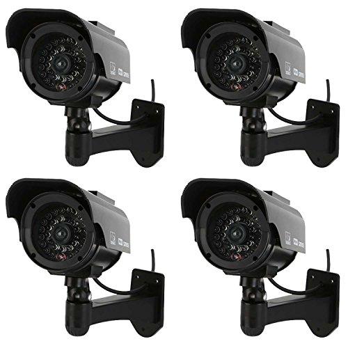 NONMON Cámara Falsa,4Pcs Dummy Cámara de Vigilancia Simulada con Energía Solar,LED Parpadeante Sistema CCTV Imitación,Seguridad Supervisión Protección para Interior Exterior Hogar Oficina