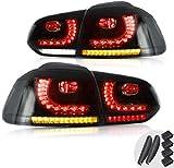 VLAND LED Luci posteriori per Golf 6 MK6 VI GTI GTD TDI TSI R 2008-2013 fanale posteriore con indicatore sequenziale (Fumo pieno)