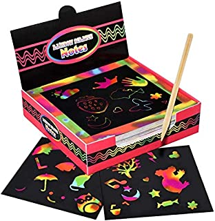 100 pcs Rainbow Scratch Paper, Arts and Crafts, Birthday Presents Gifts for Girls Age 5-10 Years Old