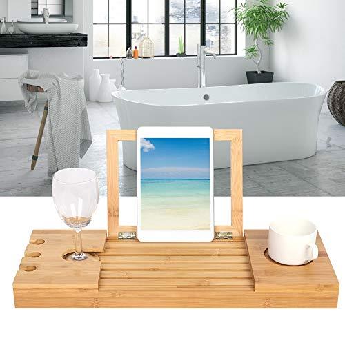 Oumefar Diseño de bambú Extensible del surco de la Tabla del Ordenador portátil de la Longitud Ajustable del Escritorio de la bañera