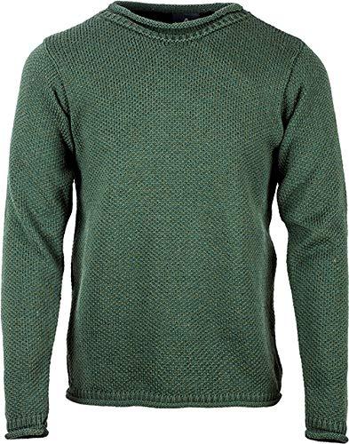 Aran Woollen Mills Mens Roll Neck Merino Wool Sweater (Green, XX-Large)