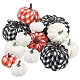FUNARTY 12pcs Various Sizes Artificial Pumpkins for Halloween, Fall and Thanksgiving Decorating