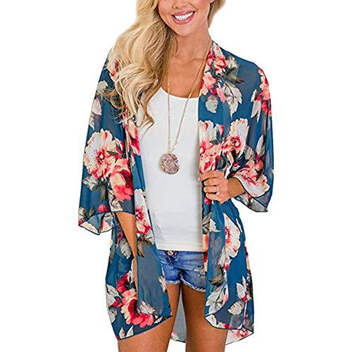 YYH Dames cardigan-strand-vertikkingen en Plus size Womens Cardigan chiffon bloemenprint voorzijde open Kimono Summer modieuze sjaal Small blauw