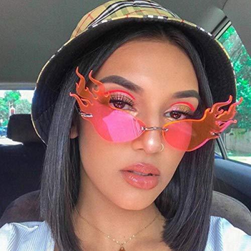 Jbwlkj Gafas de Sol Triangulares de Ojo de Gato Vintage Gafas de Sol Frescas Gafas de Sol Huecas Grandes sin Montura Cateye Gafas de Sol Mujer-Rosa