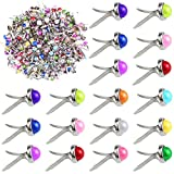 Yexpress 200 Pieces 6 x 13mm Mixed Colors Pearl Mini Brads Round Paper Fasteners Brass Pastel Metal Brads for Scrapbooking Crafts DIY Paper