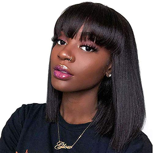 """14"""" Short Bob Wigs Brazilian Straight Human Hair Wigs With Bangs 100% Remy Human Hair Wigs 130% Density None Lace Front Wigs Glueless Machine Made Wigs For black Women"""