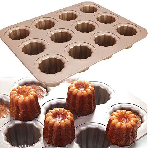 Mini Muffins Moule Moule à Cannelés,Professionnel en Acier Au Carbone Cannele 12-Hole Moule à Gâteau Non-Stick/Moule à Cannelés/Moule Cannele/Moule Mini Canele/à gâteaux/en Acier Carbone doré